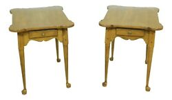 52847ec Pair Ethan Allen Solid Maple 1 Drawer End Tables
