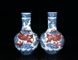 A Pair Chinese Blue And White Porcelain Handmade Exquisite Dragon Vases 19734