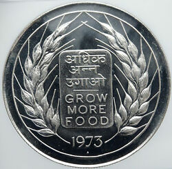1973 India Fao Grow More Food Wheat Lion Vintage Silver 20 Rupee Coin Ngc I87421