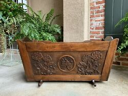 19th Century Antique French Provincial Carved Oak Baby Doll Bed Crib Planter