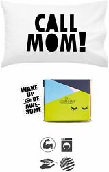 Call Mom Pillow Case Black Graduation Gifts for College Dorm Room Bedding