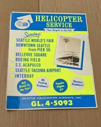 Seattle World's Fair Advertising Poster Space Needle Helicopter Service Sign