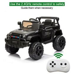 Black 12v Kids Ride On Car Truck Toys Music 3 Speed Remote Control Boy Girl Gift