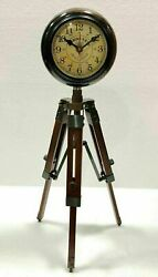Table Wooden Antique Adjustable Stand Clock Nautical Style Maritime Ship Desk