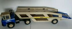 Mighty Tonka Car Carrier Transporter- Vintage 1970s Toy Truck -.rare Blue