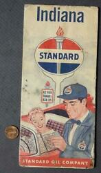 1957 Standard Oil Gas Service Station State Of Indiana Map Amoco Utoco Vintage