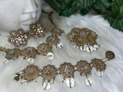 Miriam Haskell Rare Early Filagree Crystal Glass Parure Set B9