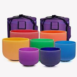 432hz 6''-12'' Set Of 7 Colored Crystal Singing Bowl Sound Healing With 2 Case B