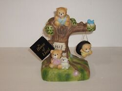 House Of Lloyd Music Box 3 Bear Cubs Playing On Tree Plays It's A Small World