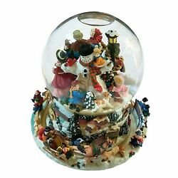 Musical Spinning Snow Globe Revolving Carolers Christmas Song Vintage Beautiful