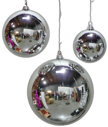 18in Large Shiny Silver Christmas Ball Ornaments Shatterproof Plastic 450mm
