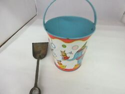 Vintage J Chein Curcus Children Sand Pail And Shovel  Tin Toy  M-540