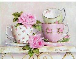 Pink Teacup Diamond Painting Design Embroidery House Portrait Decoration Display