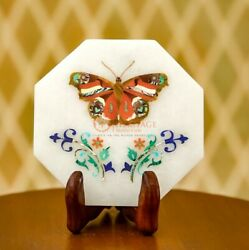 Collectible White Marble Personalize Plate Multi Stone Butterfly Inlaid Art Deco