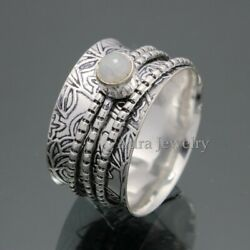 Solid 925 Sterling Silver Genuine Rainbow Moonstone Ring Boho Jewelry A355