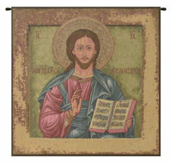 Christ Pantocrator Religious Russian Icon Italian Tapestry Wall Art Hanging New