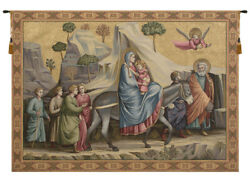 Flight Into Egypt Christ Religious Italian Tapestry Wall Art Hanging 36x50 Inch