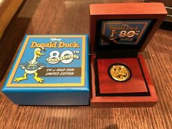 2014 Disney 80th Anniversary Of Donald Duck 1/4oz Gold Proof Coin