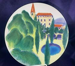 Certified International French Country Dinner Plate 10 7/8 Green Trees /pond