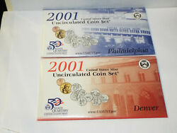 2001 Us Mint Uncirculated Coin Set Pandd 20 Coins
