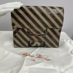 Roger Vivier Leather Bag Purse Clutch Brown Taupe Chevron Pattern Silver Metal