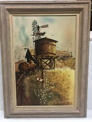 Vintage A. Nucum Signed Oil Painting Windmill Water Tower Barn Framed Large