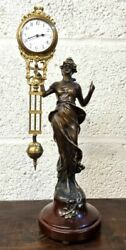 Vintage Antique French Bronze Figurine With Novelty Mystery Clock 1920 Art Nuova