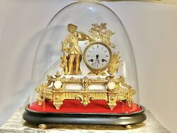 1800's Antique French Gilt Bronze Mantel Clock With Glass Dome Runs