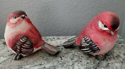 Bird K's Collection Birds Home Decor Large Life Size Statue Animal Red Lot Of 2