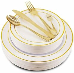 150 Pieces Gold/ Rose Gold Disposable Plastic Party Dinnerware Set Heavy Duty