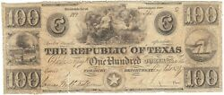 Texas, Republic Of, Austin, Cr.-a08 Red Back Treas Note 100 C,may 1 1839 Ccvf/f