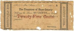Texas C.s.a. State Hays County San Marcos M-01 25 Cents Dec 1 1862 G/vg