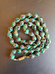 Vintage Italian Green Black Millefiori Glass Bead Necklace 23quot; Hand Knotted