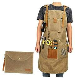 Woodworking Shop Apron,heavy Waxed Canvas Brown-leather Shoulder Strap Buckle