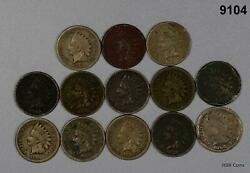 1859-63 Copper Nickel Indian Head Cent Cull Lot 13 Coins 9104
