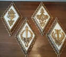 Home Interior Syroco French Court Gold Wall Plaques-set Of Four Great Condition