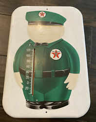 Vintage 1997 Texaco Gasoline Fat Man Thermometer Advertising Sign Collectible
