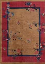 Antique Art Deco Nichols Chinese Area Rug Hand-knotted Living Room 7and039x10and039 Carpet