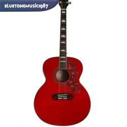 Acoustic Electric Guitar J200 Solid Spruce Top Red Color Abalone Inlay