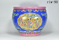 16 China The Qing Dynasty Sapphire Blue Glaze Character Story Pattern Cylinder