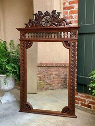 Antique French Breton Brittany Pier Wall Mantel Mirror Carved Oak Frame Beveled