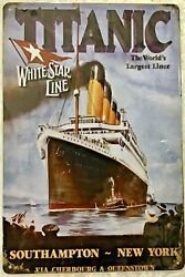 Tin Sign 8x12 Titanic Largest Ocean Liner Famous Ship Sink New York Vintage Wall
