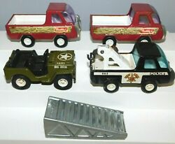 Old Buddy L Corp., Assorted Trucks And Jeep, 1960s Metal And Plastic, 5 Pieces Japan