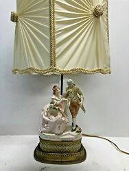Vintage Porcelain Figurine Lamp Courting Couple Colonial