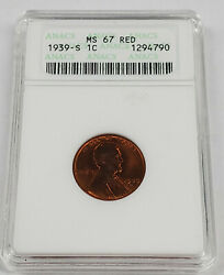1939 S Lincoln Wheat Cent 1c Anacs Ms 67 Red