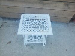 2 Square Cast Iron Furnace Grates Table Hairpin Legs Grill Welded White