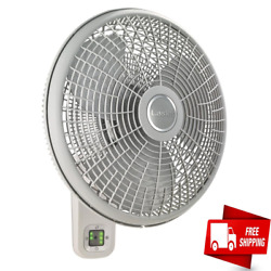 Lasko Wall Mount Fan 3 Speed Oscillating Remote Control Durable Home Office