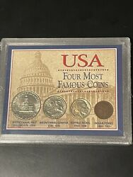 Usa Four Most Famous Coins Half Dollar, Quarter, Buffalo Nickel, Indian Penny