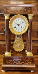 Antique Original 19th Mantel Desk Portico Marquetry Gilded French Clock Singed