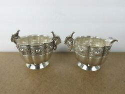 Sanborns Sterling Silver Aztec Rose Creamer And Sugar Bowl Mexico Ie@b8